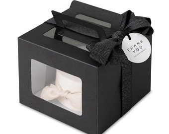 4 mini cake boxes, boxes with window, gable boxes with window, black cake box, boxes with window,black cake boxes, small cake boxes