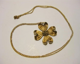 "Vintage Necklace, Vintage Jewelry, Dogwood Bloom Pendant, Gold Plated, Gold Filled, NS Mark, 23 Inch Chain, 1 1/4"" Pendant, Spring Ring"