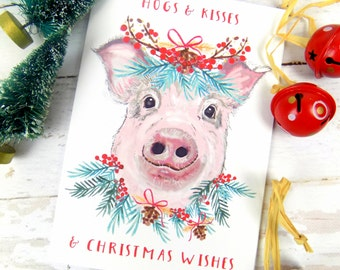 Pig Art Print Christmas Card, Cute, Funny, Pig Print, Hogs & Kisses, Pig Lover Card