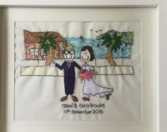 Wedding personalised gift - framed and mounted 8x10 inch embroidery