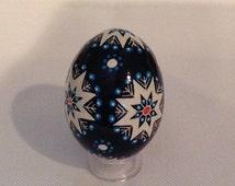 Beautiful Star Design Pysanka~Ukrainian egg~holiday Pysanky