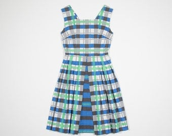 50s tartan cotton dress