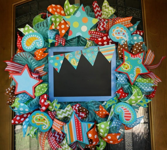 Turquoise Classroom Decor : Turquoise on dots classroom wreath school teacher