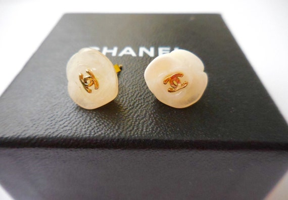 Authentic vintage Chanel camellia shape earrings
