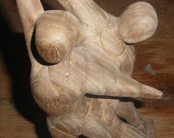 Vintage wooden sculpture dancers dancing signed with a plaque pas ce deux A.E. cook