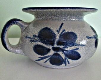 Vintage Decorative Germany Vase, Salt Glaze, Cobalt Blue and Grey, Traditional German Pottery, Ceramic, Floral Patern