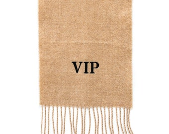 Camel personalised, monogrammed, super soft Lambswool Scarf. Embroidered with initials personalized gift for her and him.