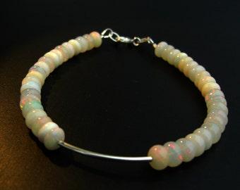 Welo Opal bracelet 925 silver bracelet, large stones, Ethiopian Opal
