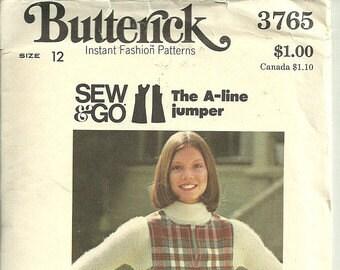 Woman's A Line Jumper Size 12 Uncut Pattern, Vintage Butterick #3765  1970s