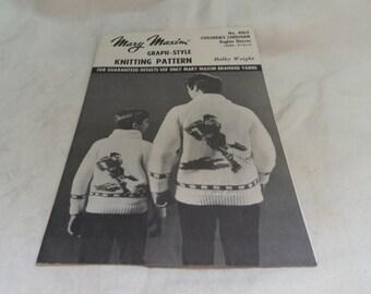 Knitting Pattern for Childs Cardigan, Hockey Motif Size 8 10 12, Bulky Weight Yarn, Mary Maxim