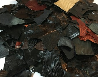Genuine Leather Scraps (mostly lizard w/ some snake, ostrich and/or alligator/crocodile), Assorted Colors - 3lbs 12 oz