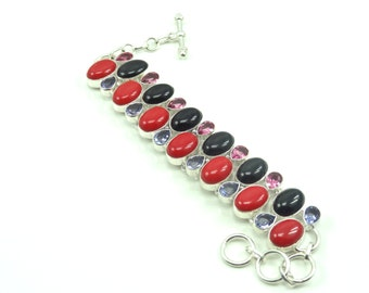 Coral, Black Onyx and Pink Hd Pure Sterling Silver Bracelet
