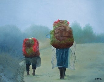 The market, in the fog. Scene of life. Red. Characters from dos. Winter landscape, rain. Blurred effect. Oil painting.