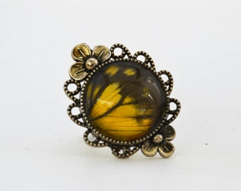 Common Silver Xenica Wing Adjustable Cameo Ring