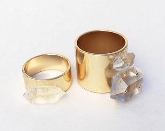 Single Herkimer Diamond Quartz Band Ring