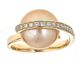 18K Gold 12.5mm Freshwater Cultured Pearl & Diamond Ring
