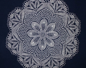 knitted doily, gift, lace knitted doily, table center accent, big large doily,linnen doily