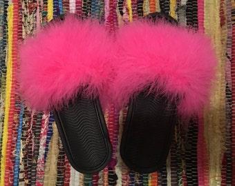 Fur Slide On Sandals
