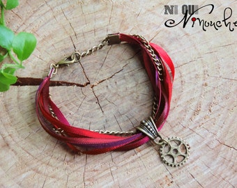 """Bracelet ribbons shades of colors red burgundy purple plum bronze chain and COG """"Blaze"""" Steampunk"""