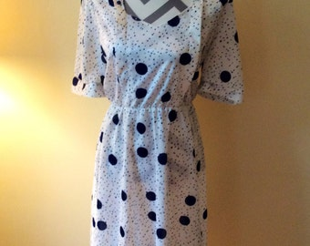 Vintage 1980's dress by Ralhym of London/vintage polkda dot dress