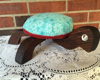 Turtle footstool, vintage upholstered ottoman, large pincushion
