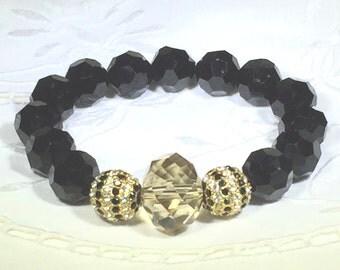 Faceted black crystal bead bracelet