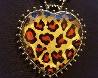Crowned Cheetah Print Necklace