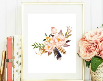Floral Wall Art, Watercolor Flower Printable, Printable Floral Art, Floral Wall Art, Tribal Prints, Tribal Decor, Flower and Feather Print