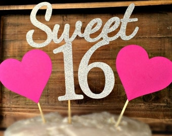 Sweet 16 Cake Topper. Sweet 16. 16th Birthday Cake Topper