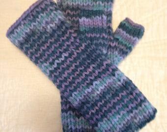 Chilly Morning Fingerless Gloves, handknit USA, women's, acrylic