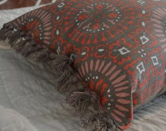 Dark khaki/grey Tasseled Decorative Pillow