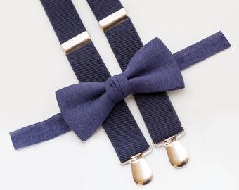 Navy Blue Bow Tie & Navy Blue Suspenders,  Wedding Necktie, Boys Bow Ties Suspenders