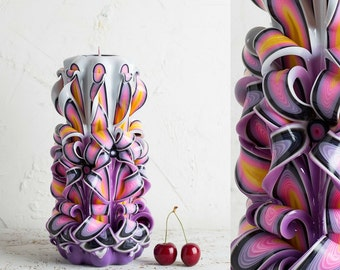 purple candle carved candles decorative candles candle carving unusual gifts for men - Decorative Candles