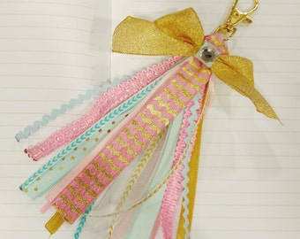 Blue, Pink, and Gold Ribbon Tassel Keychain
