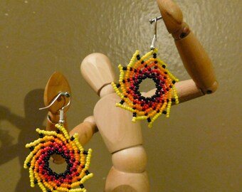 Beautiful and Unique Huichol Mexican Fiery Swirl Whirpool Earrings