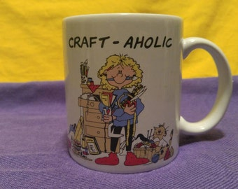 Vintage 1980's Craft-aholic Ceramic Mug with Woman and Craft Supplies
