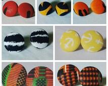 Kente Print Earrings - Orange Earrings - Red Earrings - Button Afro Earrings - ankara clip on earrings - African Print Stud Earrings - iE35