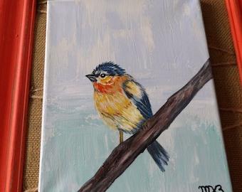 "Home decor, Art on Canvas, acrylic art, bird on a branch, original art, bird, Size: 8""x10"","