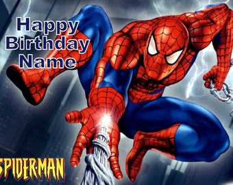Spiderman Edible Image Cake Topper Personalized Birthday 1/4 Sheet