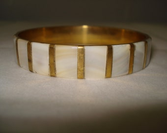 REDUCED mother of pearl/gold tone bangle