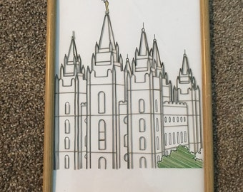 Salt lake city lds temple quilled wall hanging