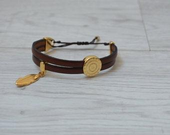 Dark Brown Genuine Leather Bracelet, Boho Bracelet, Native American Style Bracelet, Silver/Gold Bracelet, Leather Bracelet, Wrap Bracelet