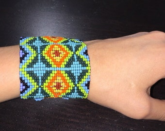 Colorful hand beaded Chaquira bracelet
