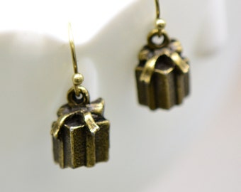 Gift Box Earrings, Antique Bronze Finish, Vintage Style Charm Pendant Earring, Present Jewelry (B032)