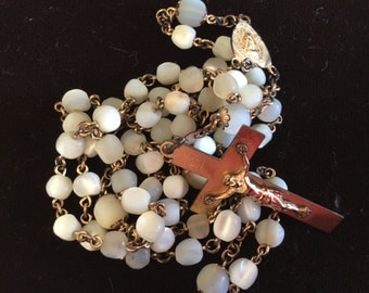 Antique 1918 dated mother of pearl glass beads rosary
