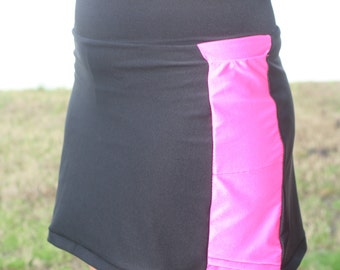 Black Running Skort with Colorful Accent