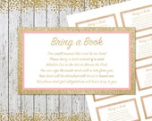 Bring a book cards baby shower, Gold Pink Books for Baby, Bring a book instead of a card, Baby shower Decoration, Printable Baby Shower Card