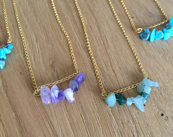 SALe - Amethyst natural stone necklace, gold necklace ~ SALE ~ Discounted price - fashion item