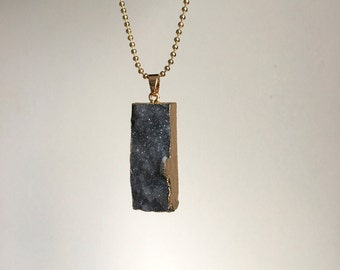 Grey agate ~ gold ball chain necklace ~ 80cm