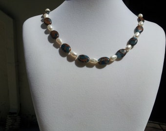 Golden Ocean Quartz and Fresh Water Pearl Necklace